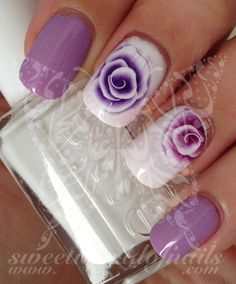 Purple Flowers Nail Art Water Decals Transfers Wraps Plus Nail Art Designs, Fingernail Designs, Fancy Nails, Pretty Nails, Nail Water Decals, Floral Nail Art, Purple Nails, Fabulous Nails, Flower Nails
