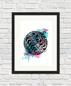 Herringbone Orb Print by BronwynHoustonArt on Etsy
