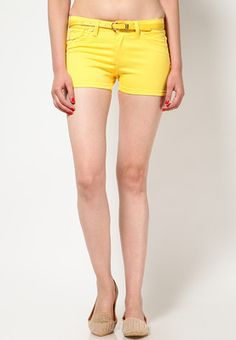 Solid Yellow Shorts Price: Rs 895