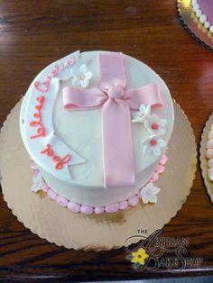 Baptism Cake w/ Pink Bow Loop, Cross, Sugar Banner, & Hyacinth