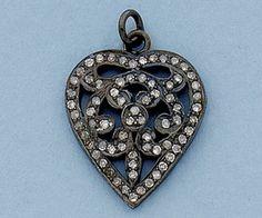 Sterling Silver Charm w/Pave Diamonds Filigree Heart 21x19mm alt=