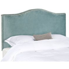 Create a serenely elegant bedroom or master suite with the soft camelback silhouette of the Jeneve queen size headboard. Elegant silver nail head trim contrasts Wedgwood blue cotton velvet in this impeccably crafted, pre-upholstered piece, which will transform any space into an oasis of relaxed sophistication. Attaches to any standard size metal frame bed.