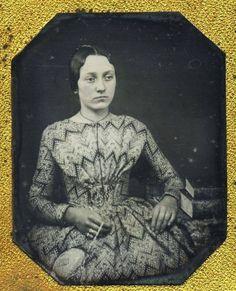 Early - mid 1840s, 'bead print' dress. Courtesy Charles R. Lemons, 19th century Fashions FB page.