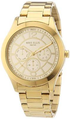 Mike Ellis New York Damen-Armbanduhr Analog Quarz Edelstahl beschichtet M2756AGM/1 - http://uhr.haus/mike-ellis-new-york/mike-ellis-new-york-damen-armbanduhr-analog-quarz