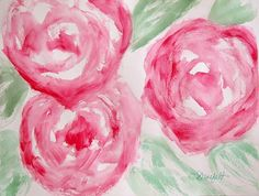 My original abstract roses painted in watercolor. This painting measures 11×14 inches. I will be matting and framing it soon then, it will be available in my online shop.