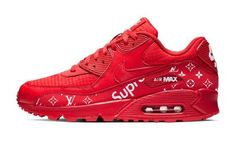 Supreme LV Monogram Print Custom Red Nike Air Max Shoes Nike Shoes all red nike shoes Nike Shoes Air Force, Nike Air Force Ones, Nike Air Max, All Red Nike Shoes, Supreme Shoes, Supreme Lv, Custom Converse Shoes, Custom Shoes, Sneaker Brands