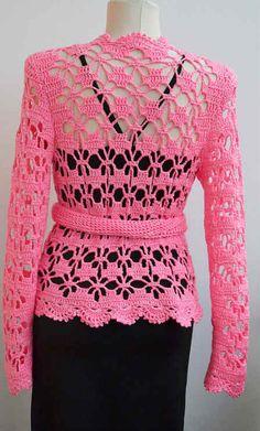Chaqueta ganchillo color rosado con moldes y patrones pap