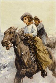Vintage Cowboy and Cowgirl Print | Vintage Cowgirl Cowboy Horse Canvas Western Art Large | eBay