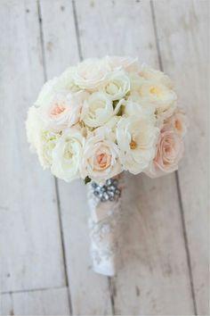 Round Wedding Bouquet With: Cream, Light Peach, White Roses