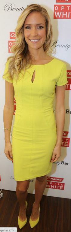 Who made  Kristin Cavallari's yellow short sleeve dress and yellow pumps?