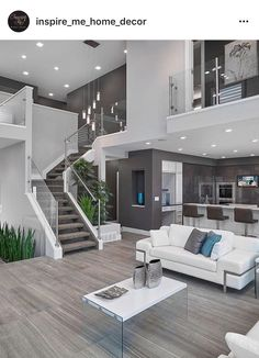 modern interior silver white sofa tall chairs tv stairs elegant floor plants modern lamps small table of Modern House Interior Design Ideas for Your Home Living Room Modern, Home And Living, Living Rooms, Cozy Living, Living Area, Small Living, Apartment Living, Stairs In Living Room, Spacious Living Room