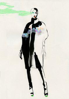 Fashion illustration by cecilia carlstedt, pinned by modecon Illustration Techniques, Illustration Sketches, Fashion Sketchbook, Fashion Sketches, Fashion Illustrations, Fashion Graphic, Fashion Art, Fashion Design, Creative Textiles