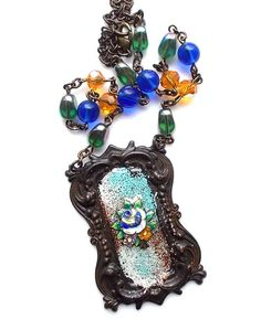 Rustic  Enamel Flower Necklace Vintage Green Cobalt di LilisGems, $48.00