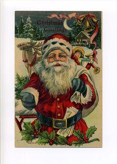 Antique Christmas postcard Santa, letters, reindeer, toys, moon, 1920's #Christmas