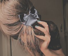 low messy bun with bow