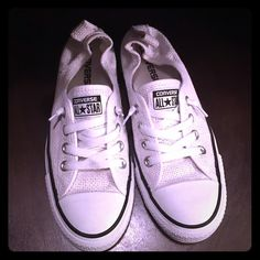 Chuck Taylor White perforated converse 7 These are marked 5 fit size 7. (I will double check when I get home if they are marked 7).Minimal wear. Attached picture of bottoms. These are hard to find. Converse Shoes Sneakers