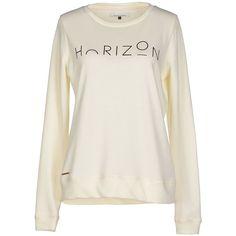 Only Sweatshirt ($53) ❤ liked on Polyvore featuring tops, hoodies, sweatshirts, ivory, print sweatshirt, long sleeve tops, logo sweatshirts, patterned sweatshirts and ivory top