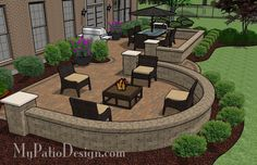 With tumbled block seating walls framing an outdoor dining and fire pit areas, this Beautiful Backyard Patio Design with Seat Walls is fun and functional to use.