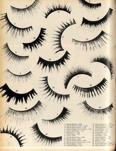 Vintage fake eyelash types.