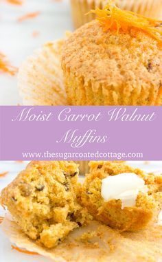 These muffins are super moist, sweet, lightly spiced with the added crunch of walnuts.