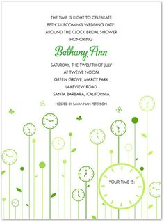 1000 images about around the clock shower invitations on for Around the clock bridal shower decoration ideas