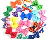16 Infant Hair Bows - Choose 16 - Baby Hair Bows - Toddler Hair Bows - Snap or Alligator clips - Select from over 100 colors and prints