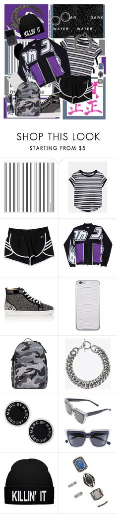 """""""""""You always talk about the future, it's like you forget you're even living in the present time."""""""" by jaekoreoz ❤ liked on Polyvore featuring adidas, Christian Louboutin, Jamie Clawson, Valentino, Yves Saint Laurent, Marc by Marc Jacobs, Le Specs, Forever 21, Collage and art"""