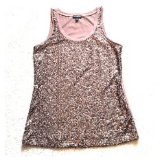 ✨EXPRESS sequin tank top EXPRESS sequin tank top.  Brown color.  Outer front: 100% polyester.  Inner front: 100% polyester.  Back:  52% cotton, 48% modal.  Hand wash.  Only worn one time - excellent condition! Express Tops Tank Tops