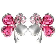 Four Leaf Clover Heart Shaped Swarovski Elements Crystal Rhodium Plated Stud Earrings - Pink Sapphire. close Four Leaf Clover Heart Shaped Swarovski ...