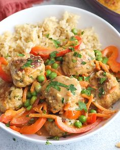 Incredible one pan ginger chicken meatballs with a thai inspired peanut sauce. This easy weeknight dinner is loaded with veggies & protein, and is perfect for meal prep! Serve with brown rice, quinoa, or your favorite spiralized veggie noodles. Turkey Recipes, Chicken Recipes, Dinner Recipes, Healthy Chicken, Chicken Protein, One Pot Meals, Main Meals, Asian Recipes, Healthy Recipes