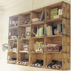 DIY shoe rack or shelving with wine crates, very cool. Studio wall maybe?
