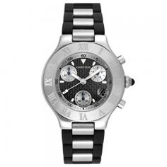 Cartier Men's Stainless Steel and Black Rubber Chronograph Watch