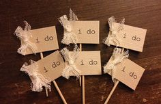 I Do cupcake toppers, rustic wedding cupcake tags, Burlap & lace cupcake toothpicks, I Do tag, baby shower cupcake tags, cupcake toppers