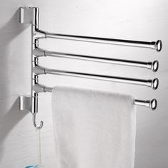 Towel-Holder-4-Swivel-Bars-Stainless-Steel-Bath-Rack-Rail-Hanger-Bathroom-Shelf