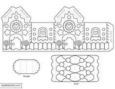 Printable gingerbread house template to color - Ayelet Keshet - Free printable gingerbread house template coloring page for kids - Gingerbread House Template Printable, Gingerbread House Patterns, Christmas Gingerbread House, Templates Printable Free, Printable Paper, Gingerbread Houses, Gingerbread Cookies, Christmas Ornament, Fun Christmas Activities