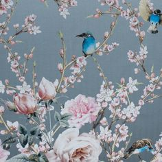 Like that of a Renaissance painting, dawn this elegant <strong>Premium Digitally Printed Mikado</strong>. Hummingbirds and butterflies flutter over roses and cherry blossoms depicting a summer/springtime scene. With a hand like that of silk, this piece is tightly woven resulting in a fuller drape. From evening gowns to cocktail dresses, be prepared to be in the limelight at any garden party or black tie event. Thin and of a medium weight, it is slightly translucent when held up to the light…
