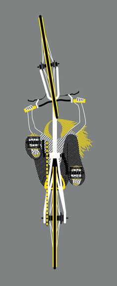 Bicycle Graphic Design>>> Now isn't this fun! Who has done this perspective before? In fact, who has done this perspective? The artist is Anne Ulku and a very busy girl. Great work and we love it. A BIG format version at the JOLERIDER Bike Shed would look fantastic. Thanks to Mme Velo for sharing this pin. MAKETRAX.net - Bicycle ART