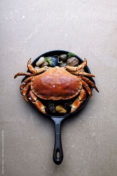 Cooked brown crab in a skillet. From above. by Darren Muir
