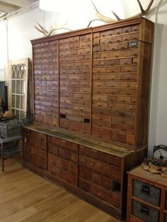 I love this! best antique wooden apothecary cabinet | Antiquities Warehouse Phoenix, AZ ahh, complete organization!