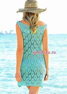 era Романтичное лето! Бирюзово-зеленое летнее платье с узорами из ромбов и пышных столбиков. Вязание крючком