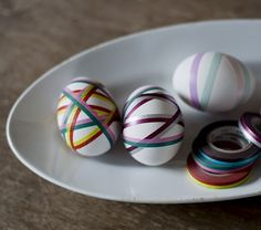 Washi tape Easter eggs from Estonian website Teip, via Creative Living blog.