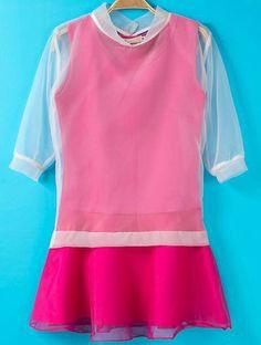 Rose Red Contrast Organza Short Sleeve Ruffle Dress EUR€19.57