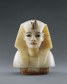 Royal Canopic Bust This calcite bust of Tutankhamun  was used as a lid, or stopper, for one of the cavities of the canopic chest  in which the mummified organs of the King were stored. A bust was used on each of the four cylindrical cavities in the canopic chest.