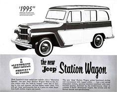 Una antigua publicidad del Jeep® Station Wagon, un vehículo considerado de los primeros utilitarios urbanos.