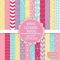 Digital Scrapbooking Pastel Printable Paper Pack Instant Download Spring Cleaning