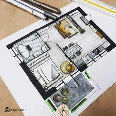 Cursus perspectief in interieur tekenen - Plattegrond - Texture Architecture, Interior Architecture Drawing, Interior Design Renderings, Architecture Concept Drawings, Drawing Interior, Interior Sketch, Architectural Drawings, Landscape Architecture, Interior Rendering