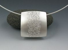 Zen Silver Reversible Pendant Pebble Path by annewalkerjewelry