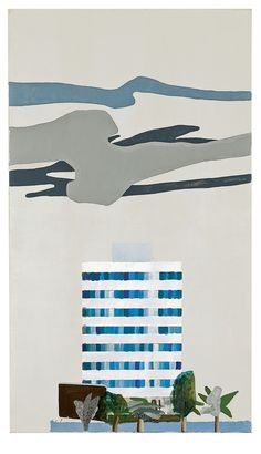 David Hockney (British, b. 1937), White Building and Clouds, 1965. Acrylic on canvas, 42 x 24 in.