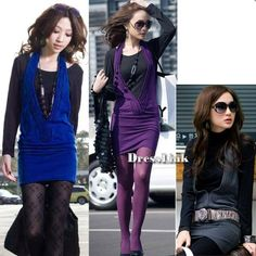 Korean Fashion Women's Slim Long Sleeve False Two-Piece Dress 3 Colors DL0 | eBay