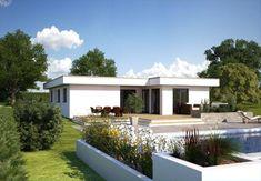Bungalow Hommage 134   Hanlo Haus   Moderner Bungalow Im Baushausstil Mit  Flachdach Und Fassade Weiß